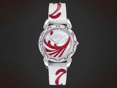 Cuervo y Sobrinos Tropicana Red. Historiador Lady. White mother of pearl, red diamond dust Pearl Diamond, Lady, Pearls, Watches, Design, Historian, Raven, Wristwatches, Beads