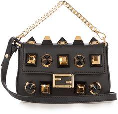 Shop Now - >  https://api.shopstyle.com/action/apiVisitRetailer?id=610778335&pid=uid6996-25233114-59 FENDI Micro Baguette embellished cross-body bag  ...