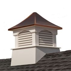 Good Directions Carlisle x White Vinyl Cupola with Copper Roof at Lowe's. For over 35 years Good Directions cupolas have been the perfect complement to your home garage shed barn gazebo pool house carriage house horse barn or Roof Decoration, Beav, Copper Roof, Metal Roof, Roof Types, Garage House, Garage Doors, Garage Loft, Pvc Vinyl