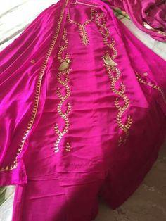 Magentacolour#beautiful design Punjabi Suits Designer Boutique, Boutique Suits, Indian Designer Suits, Indian Suits, Embroidery Suits Punjabi, Embroidery Suits Design, Embroidery Fashion, Hand Embroidery, Embroidery Designs