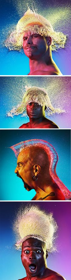 Water Wigs by Tim Tadder. He snapped water balloons hitting bald men's heads at just the right moment.