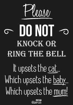 A sign for new parents to hang on their door when the new baby is sleeping! Do Not Knock - Cat | Printable | Bub Hub