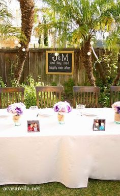 """Create your own """"chalkboard"""" sign for the wedding."""