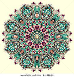 mandala, circle decorative spiritual indian symbol of lotus flower, round ornament pattern, vector illustration - stock vector