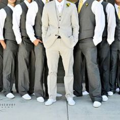 Have the groomsmen wear guava colored ties to match the bridesmaids guava dresses. And have the groom wear a canary tie instead of guava  From weddingwire.com