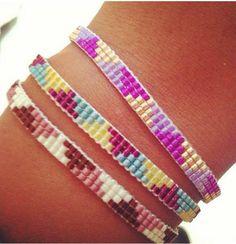 Bracelet, 3 rows, delica Beaded Braclets, Bead Loom Bracelets, Beaded Jewelry, Bead Loom Patterns, Peyote Patterns, Beading Patterns, Accesorios Casual, Diy Schmuck, Loom Beading
