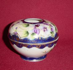 Hand Painted Nippon Porcelain Hair Receiver with Violets from alleycatlane on Ruby Lane