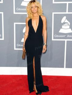 Sexy Open Back Fishtail Deep V Neeck Rihanna Black Plunging Backless Celebrity Dresses Grammy Awards 2012 Red Carpet Gowns CS055