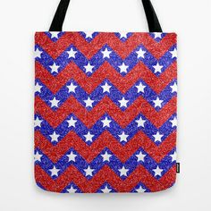Chevron Star Spangled Banner Tote Bag by Alice Gosling - $18.00  ALL Tote Bags are now full bleed, printed both sides and available in 3 sizes #bag #USA #Flag #StarsandStripes #Chevron #Glitter #Sparkle