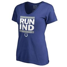 Women's Indianapolis Colts Pro Line Royal RUN-CTY Slim Fit V-Neck T-Shirt