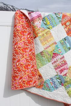 Scrappy Rainbow quilt from diary of a Quilter