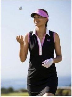 Daily Sports USA Women's Black with Pink Knit Golf Dress