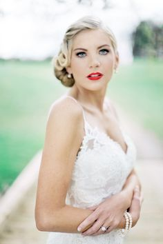 rustic setting/ glamorous Bride Photography By /. Fall Wedding Dresses, Colored Wedding Dresses, Cheap Wedding Dress, Bridal Hair And Makeup, Bridal Beauty, Wedding Makeup, Hair Makeup, Wedding Lipstick, Makeup Lips