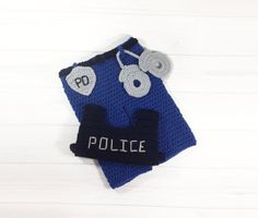 Baby police outfit Crochet baby vest Infant by HandMadeCraftyOne