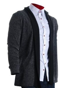 FLATSEVEN Mens Stylish No Button Draped Cardigan Black (C201) Charcoal FLATSEVEN http://www.amazon.com/dp/B009NVOAQ2/ref=cm_sw_r_pi_dp_UcC0ub058M4MC #Stylish #men #fashion #FLATSEVEN #cardigan