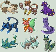 Eeveelution Concepts by Wooded-Wolf Pokemon Dragon, New Pokemon, Cool Pokemon, Pokemon Eeveelutions, Eevee Evolutions, Wolf Deviantart, Pokemon Fusion Art, Pokemon Pictures, Kawaii Drawings