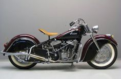 1946 Indian Chief...The new front fork more than double the wheel travel on the Chief. Combined with softer springs in the plunger suspension at the rear, this meant a super smoother ride...