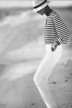 Breton top / How to style breton top / Story of breton stripes / Vogue US January 1980 (photography: Alex Chatelain) via fashioned by love british fashion blog