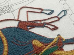 Tutorial on how to do the couching technique used on the Bayeux Tapestry!