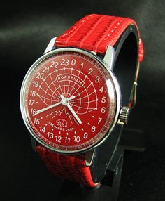 "Somewhat oversized ""Polar"" style Raketa 24hr watch; one of the best things about this one is the colour. US $157.50 sold at http://r.ebay.com/X2hkFc"