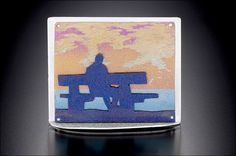 Beach Sunset (pin) ~ Noel Yovovich ~ silver and anodized titanium ~ high x wide Selling Jewelry Online, Titanium Jewelry, Work Inspiration, Jewelry Art, Jewelry Design, Jewelry Trends, Projects To Try, Handmade Jewelry, Jewelry Making