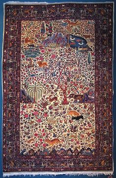 Iran   Khorasan Mashad carpet. The most delicate carpet in the Iran Carpet Museum. It was produced in early 14th century Hegira at Amu Oghli's workshop in Mashhad. Amu Oghli, of Azari origin, is among the famous master carpet weavers of Mashhad. The carpet was transferred from Sa'dabad Palace to the Carpet Museum following the 1979 Islamic Revolution.