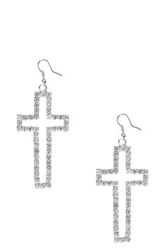 Crystal Silver Cross Earrings