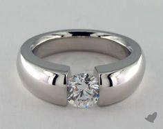 17316w14 | 14k White Gold Contoured Tension V121 by Danhov Designer Engagement Ring - Mobile