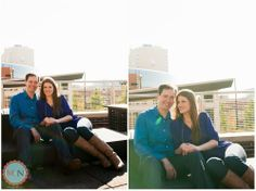 Downtown sunset engagement photos, kansas city; Rooftop Engagement Photos; Meagan and Nate Photography