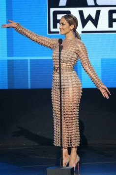 Jennifer Lopez was the host for the 2015 American Music Awards – and in true JLo fashion, she killed it with each and every outfit she wore. J Lo Fashion, Style Fashion, Balmain Dress, Sheer Gown, Glamour, The Dress, Celebrity Style, Celebs, Gowns