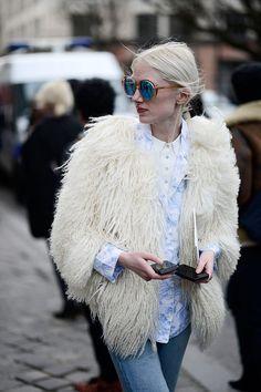 shaggy mongolian fur coat #streetstyle #fashion #style