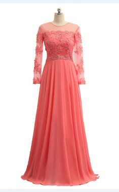 Festa Sexy Dress Appliques Long-sleeved Neck O A Line Of Formal Wedding Party Long Silk Dress Cheap Dresses, Sexy Dresses, Cute Dresses, Party Dresses, Chiffon Gown, Silk Dress, Evening Party Gowns, Evening Dresses, Tulle Prom Dress