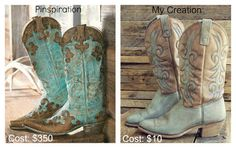 Alida Makes:  DIY Turquoise Cowboy Boots...these started out black!