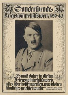 Hitler KWHW 1939/1940 donation postcard with Hitler Quote.