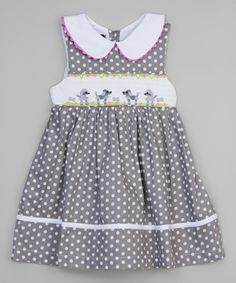 Look at this #zulilyfind! Gray Polka Dot Poodle Smocked A-Line Dress - Infant & Toddler #zulilyfinds