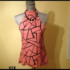 BODY CENTRAL Top Peach n black top with gold clasp on neck...black necklace not included.. Body Central Tops