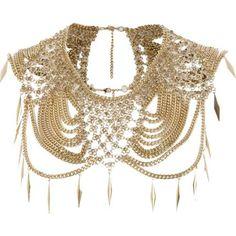 Collier-cape doré avec chaîne effet drapé - harnais / accessoires - Bijoux - femme