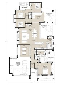 Hello! It's the weekly edition of Floor Plan Friday and today I have this large family home to show you. I am loving the master 'wing'. Yes, extravagant, but just perfect! I could shove my boys down the back of the house and never leave the master bedroom and my own verandah. Drool…. I also …