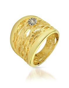 Diamond Open work 18K Yellow Gold Band Ring by Orlando Orlandini