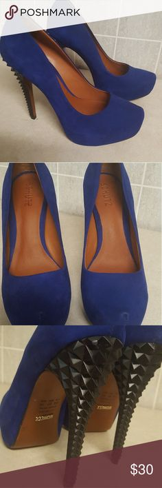 Schutz blue suede heels sz 8 Used once outside, super sexy comfy Schutz heels made in Brazil Shoes Heels
