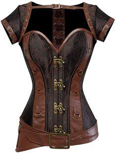 f4c2b00ffc Rosfajiama Cool Warrior diseño de la Mujer Acero Deshuesada Brocado Vintage  Steampunk Bustiers corsés Medium marrón
