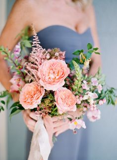 Spring peach wedding bouquet: http://www.stylemepretty.com/2017/04/27/garden-inspired-city-hall-wedding-in-san-francisco/ Photography: Jose Villa - http://josevilla.com/