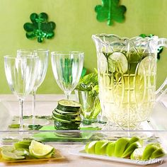 A classier spin on St. Patrick's Day party drinks: Green Sangria. Click for the recipe!
