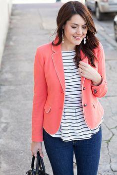 coral blazer + stripes