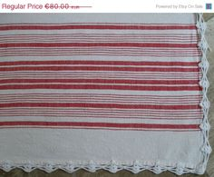 Bedspread or Tablecloth ideal for farmhouse decor Vintage Striped White Red Bedspread or Tablecloth, Handwoven cotton by VintageHomeStories, Sofa Throw, Red Bedspread, Rustic Shabby Chic, Moroccan Decor, Floor Decor, Tablecloths, Cottage Chic, Beautiful Interiors
