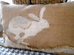 Easter burlap bunny, NO pattern, just for my inspiration. I feel many cushion in 2013 coming on! lol xox