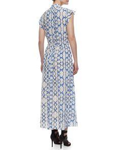 Printed Flutter-Sleeve Maxi Dress