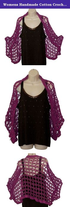 "Womens Handmade Cotton Crochet Purple Shrug, Orchid Bolero, Summer Fashion Wrap, Cape Cloak, Shoulder Shawl, Stole,. Trendy, yet soft and feminine. This shrug in hot orchid is a fashion must-have. Wear it to the office, school, the beach or a night out. Perfect for over a tank top in summer or a long sleeve shirt in winter. The vest in the picture that is ready to ship is a size XL-3XL. It is 46"" across the back and 30"" long. However it can be made in any size, even girls sizes. Please…"