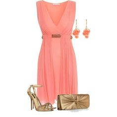 coral belted dress with bronze accessories
