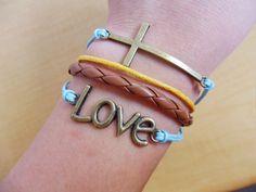 Bangle love bracelet cross bracelet leather by jewelrybraceletcuff, $6.49